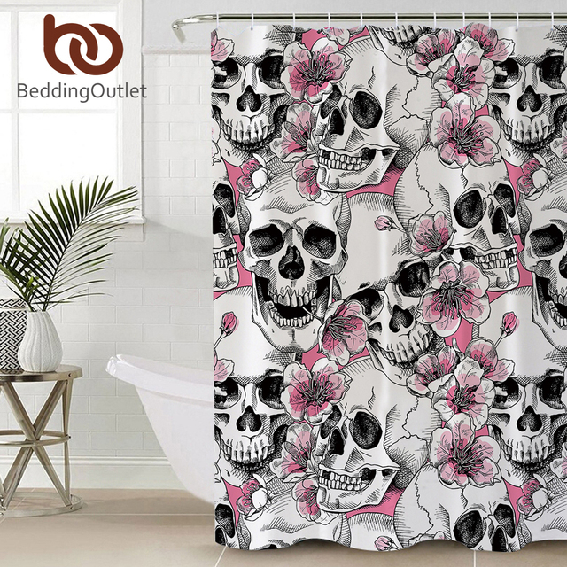 BeddingOutlet Sugar Skull Shower Curtain Pink Floral Bathroom Cherry Blossoms Waterproof Bath With Hooks For Woman