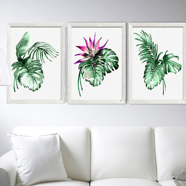Watercolor Green Plants Monstera Nature Posters And Prints: Poster And Prints Monstera Deliciosa Print Botanical Plant