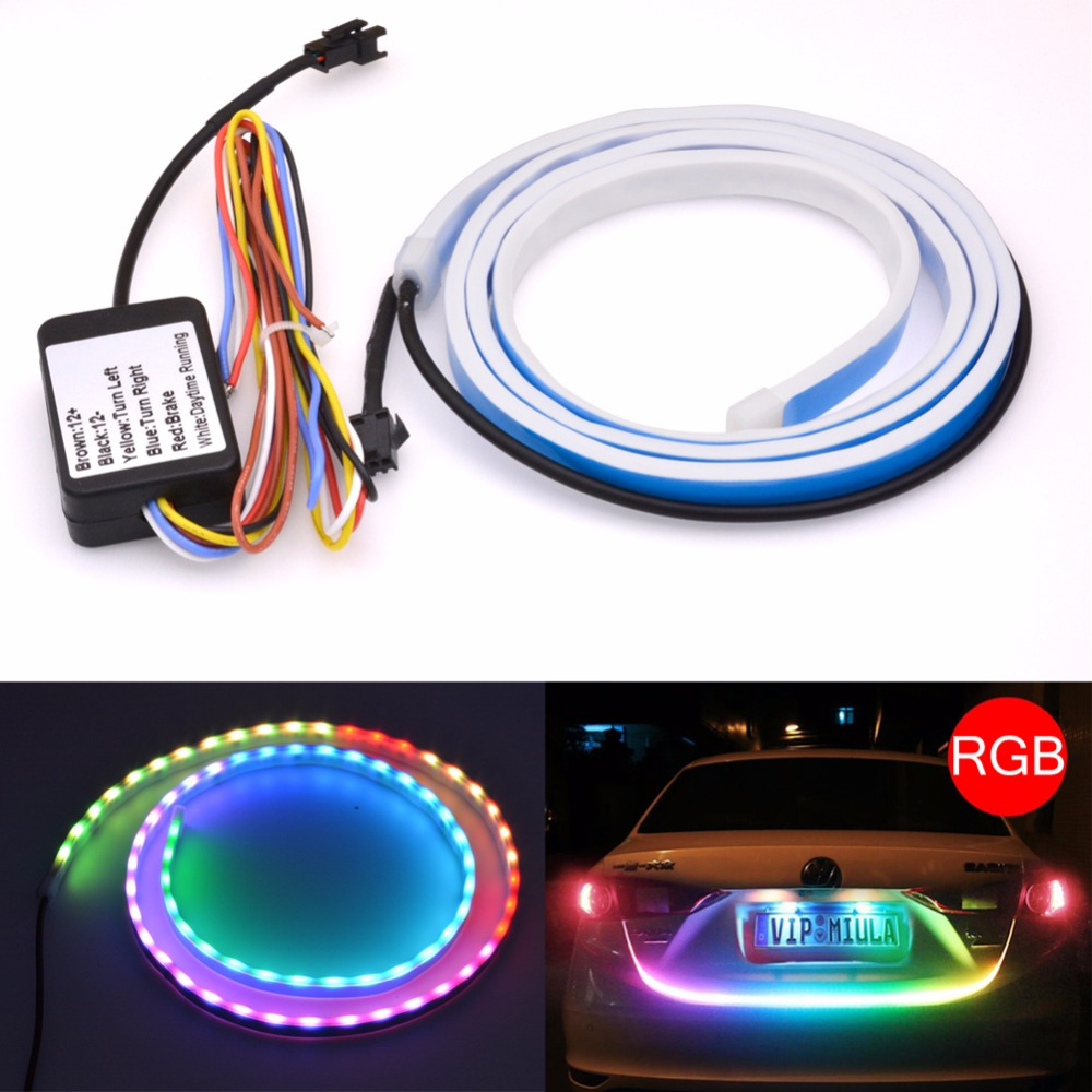 Car Tailgate Strip Light RGB LED Brake Rear Turn Signal Running Flowing Emergency Tail Strip Light Bar Dual-color Red/Ice Blue marilyn manson guns god