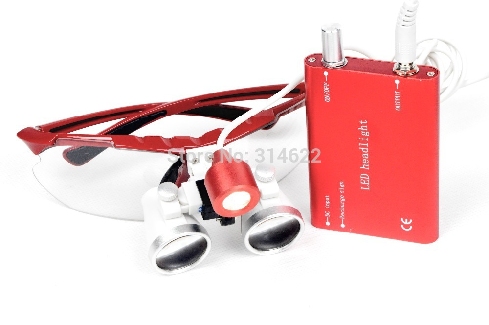 Dental equipment Surgical Medical dental Loupes dental glasses 3.5X 420mm +LED Head Light Lamp Red dental lab hot sale g7 dental equipment surgical dental glasses 3 5x 420mm led head light lamp dental lab blue aa medical dental loupes