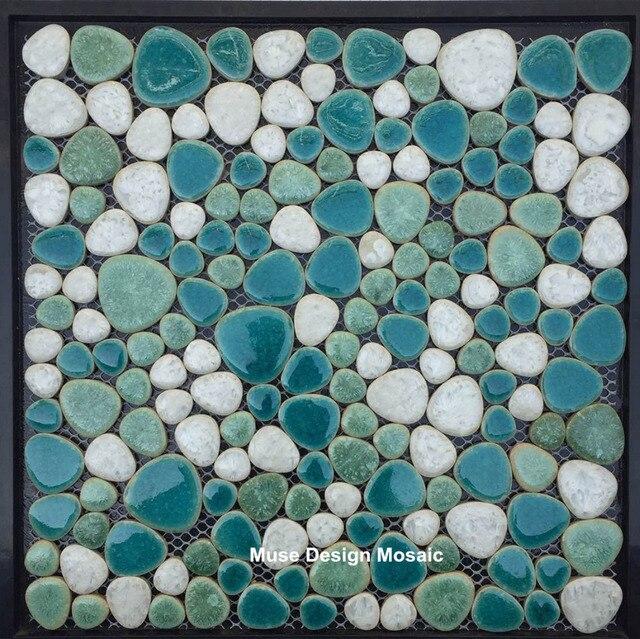 See Grün Weißen Kiesel Keramik Mosaik Fliesen Badezimmer Dusche Küche  Backsplash Pool Wand Boden Dekoration