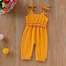 Одежда для девочек; летние кружевные Комбинезоны на подтяжках; однотонные комбинезоны без рукавов с бантом; комбинезон на подтяжках для новорожденных;# p40US