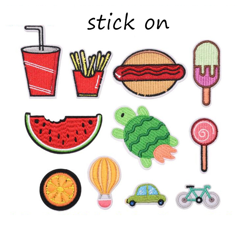 Stick On The Animal Food Fruit Patches Iron Embroidered Patch For Clothing Sticker Badge Paste Clothes Bag Pants