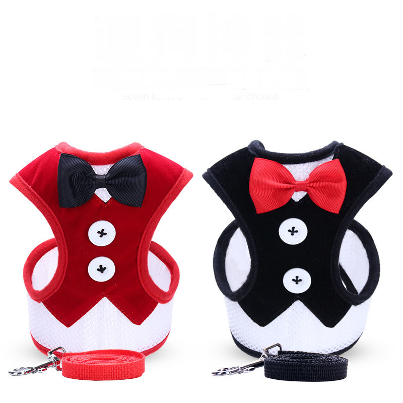 fashion dog vest harness Nylon dog harness and leash set for small dogs Cat Pet Dog Chest Strap Leash Vest style dress bow in Harnesses from Home Garden