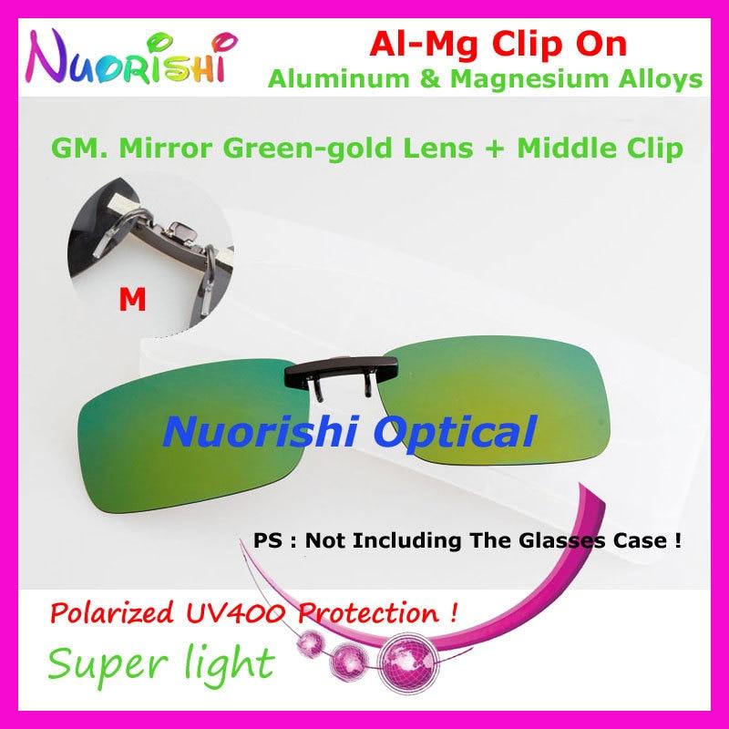 20 штук алюминиево-магниевого сплава, поляризованные очки Линзы для очков 7 цветов UV400 объектив клипсы для малых и средних Размеры зажимы CP07 - Цвет линз: GM Mirror Green gold