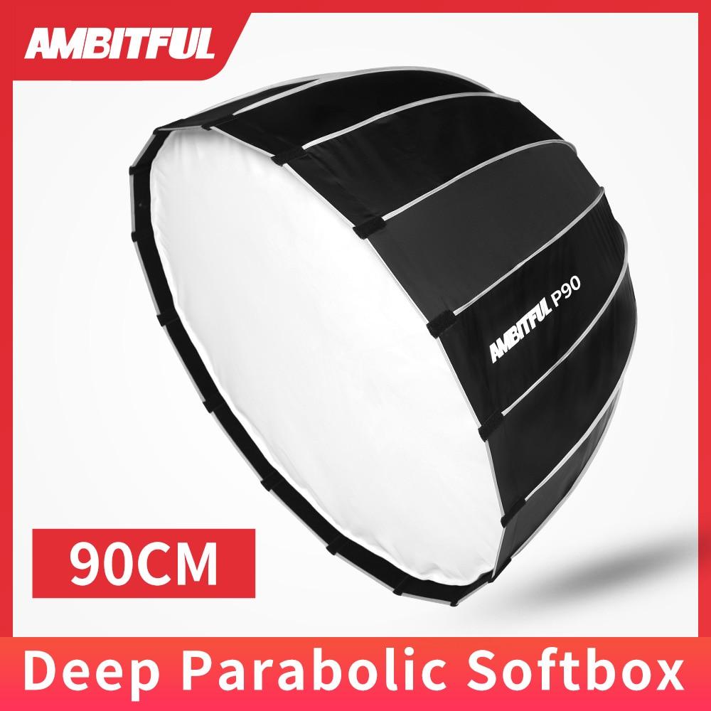 AMBITFUL P90 Portable 90CM 16 Rods Deep Parabolic Softbox Bowens Mount Studio Flash Speedlite Reflector Photo