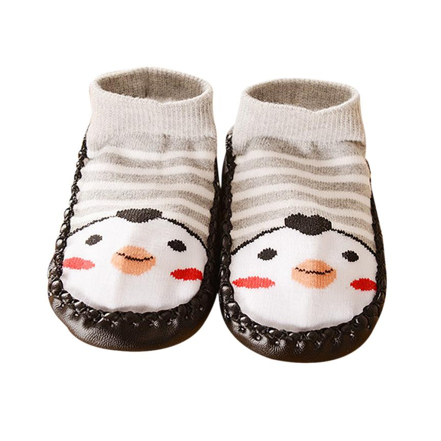2017 Super Cute Cartoon Kids Toddler Baby Anti-slip Sock Shoes Boots Slipper Socks bota infantil menina