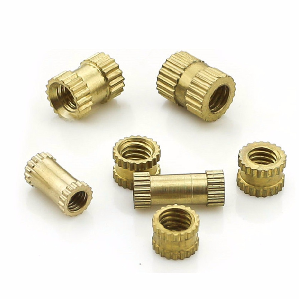 100PCS M3*5*5mm OD 5mm Brass Inserts Double Pass Copper Knurl Nut Embedded Fastener брелок fy 5 5mm
