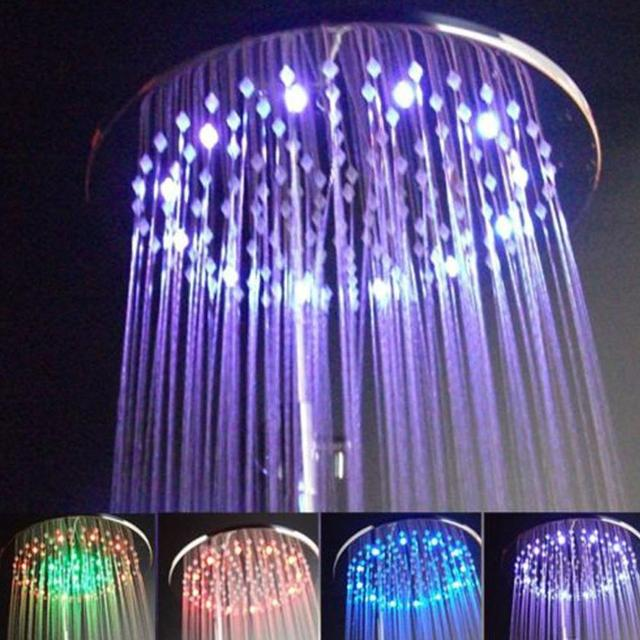 Rainbow Design LED Light Temperature Sensor Shower Head Waterfall Bathroom  Shower Nozzle Sprayer 7 Colors Free
