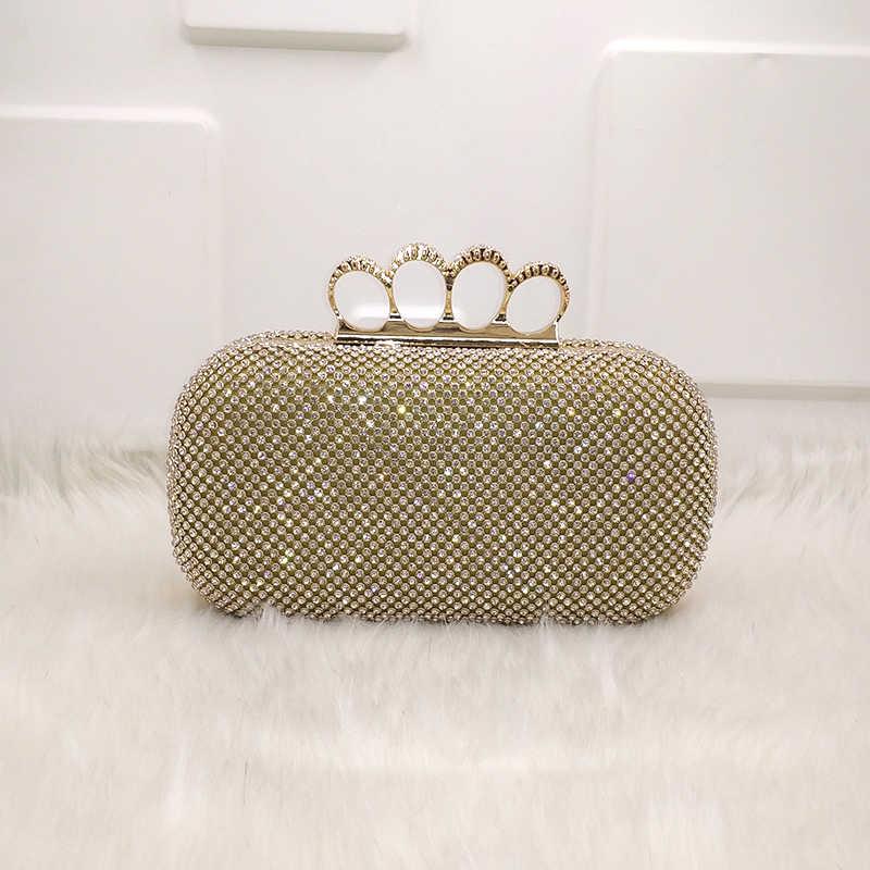 4ebe156dd135 Новейшие стразы золото/серебро/черный алмаз элегантный клатч для женщин  Свадебные кошелек finger knucklebox