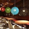 Бамбуковая  ротанговая и пеньковая шариковая люстра индивидуальное творчество Сферический ротанговый гнездо абажур для сада патио  свадеб...