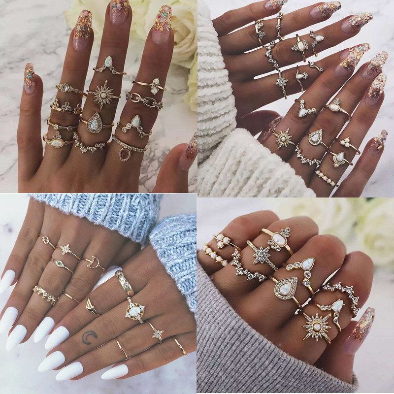 DIEZI 6 Style Vintage Bohemian Opal Knuckle Joint Rings Set For Women Gold Color Flower Crown Moon Finger Rings Jewelry 2019 New