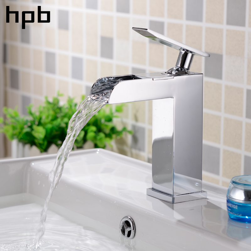 HPB Brass Chrome Bathroom Waterfall Basin Faucet Sink Mixer Tap Hot And Cold Water Single Handle Contemporary Style HP3016 chrome brass bathroom waterfall spout bathroom sink faucet single handle mixer tap with cover plate contemporary style