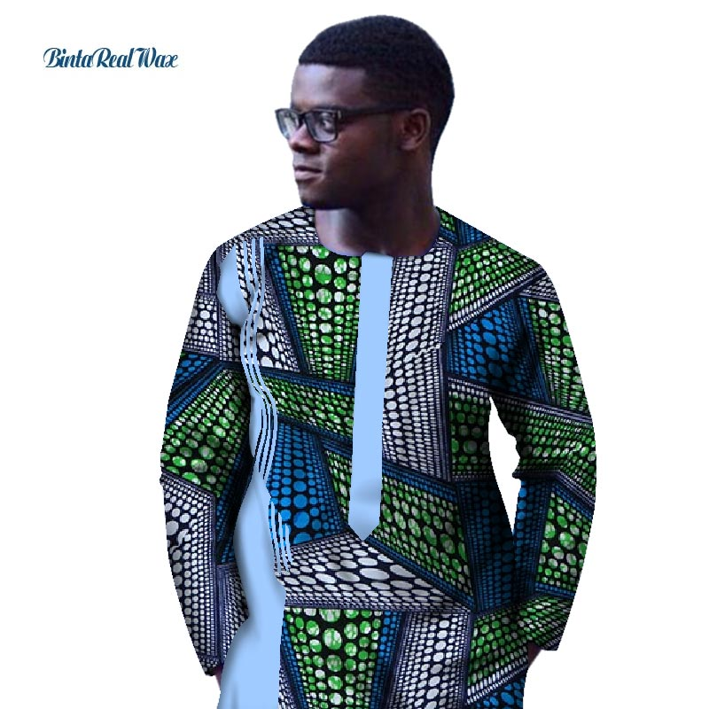Casual <font><b>Men</b></font> Clothes Traditional <font><b>African</b></font> Style Clothing Customized Cotton Patchwork Top Dashiki <font><b>African</b></font> <font><b>Wax</b></font> Print <font><b>Shirt</b></font> WYN435 image