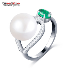LZESHINE Genuine 925 Sterling Silver Pearl Ring For Women Charm Jewelry With Green Stone Christmas Gift Trendy Rings anel 0022