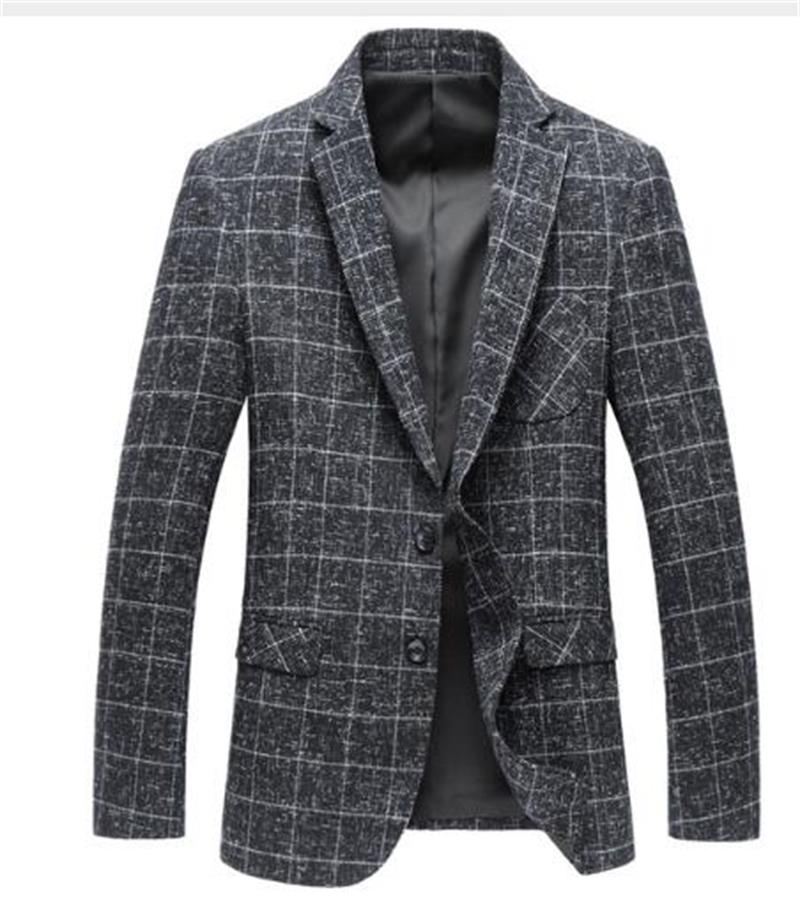 2019 Wool Fashion Jacket Men Classic Jacket Stylish Grid Suit Blazer Jacket Casual Business Tailored Mens Skinny Slim Blazer