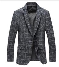цена на 2019 Wool Fashion Jacket Men Classic Jacket Stylish Grid Suit Blazer Jacket Casual Business Tailored Mens Skinny Slim Blazer