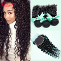 Grade 7A Unprocessed Peruvian Deep Wave With Closure Peruvian Curly Virgin Hair With Closure 3pcs Human Hair Weave With closure