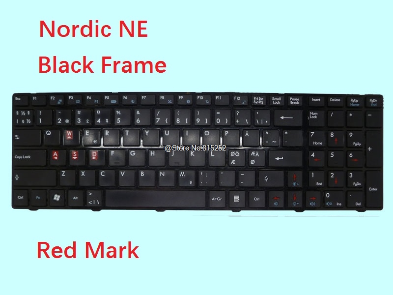 Laptop Keyboard For <font><b>MSI</b></font> <font><b>GE700</b></font> MS-1733 Brazil BR German GR Czech CZ Nordic NE Farsi FS Italy IT Belgium BE With Red Mark New image