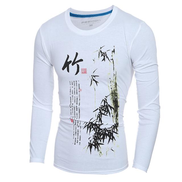 Estilo chino Clásico De Bambú Polo Camisas Hombre de Manga Larga de La Vendimia Arte Cultura Pullovers Blancos 2017 de Primavera Delgado Impreso Retro Tops
