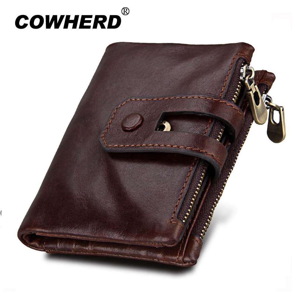 COWHERD Genuine Cow Leather Wallet Male Crazy Horse Cowhide Coin Purse Rfid Fashion Top layer Cowskin Zipper Men Women Wallets men wallet male cowhide genuine leather purse money clutch card holder coin short crazy horse photo fashion 2017 male wallets