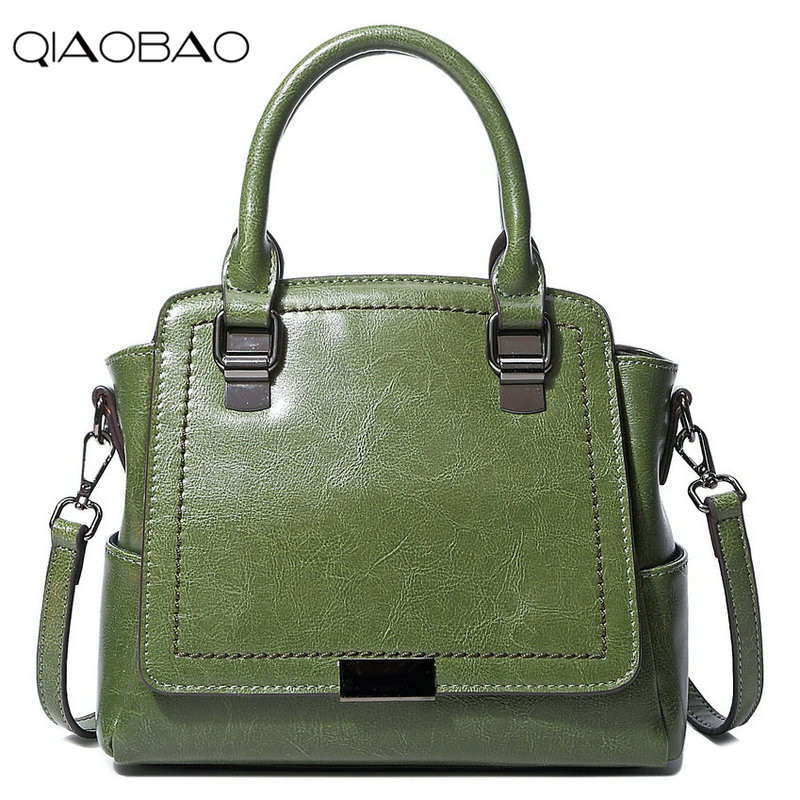QIAOBAO Brands Women Messenger Bags Designer Vintage Handbag Genuine Leather Bag Fashion Women Tote Shoulder Bags Bolsa Feminina