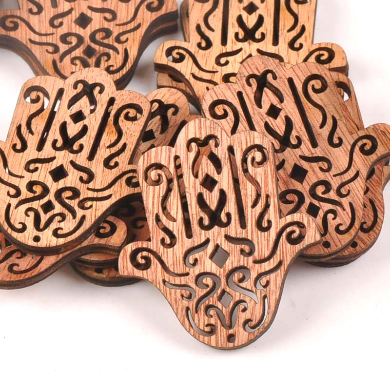 20pcs 43X49mm Natural Vintage Wood DIY Crafts For Hand Of Fatima Handmade Sewing Scrapbooking Handicraft Wooden Ornament M1609