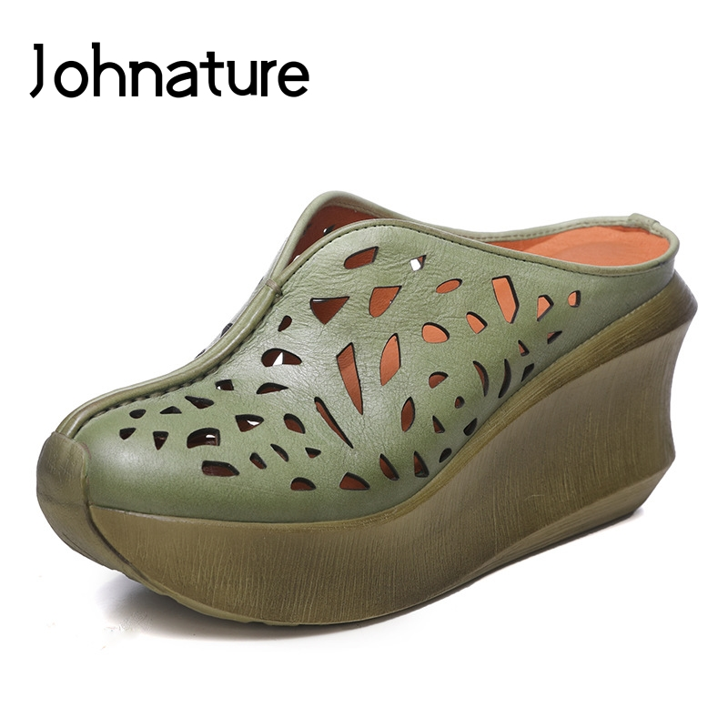 Johnature 2019 New Summer Genuine Leather Casual Retro Slip on Wedges Platform Sandals Women Shoes