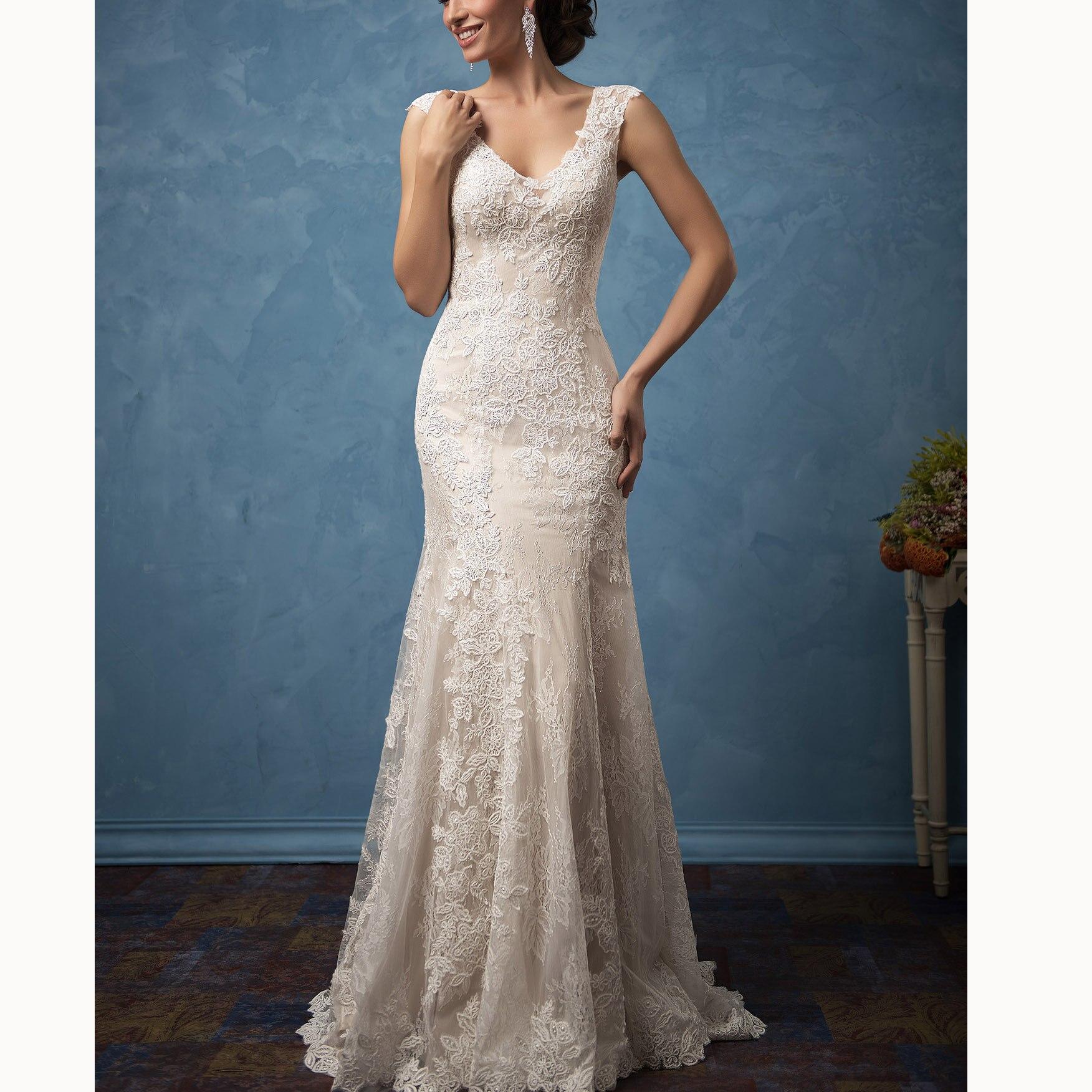 Vestidos De Festa Lace Ivory Appliques Deep V-neck Mermaid Dresses Cap Sleeves Court Train Wedding Dresses Bridal Gowns