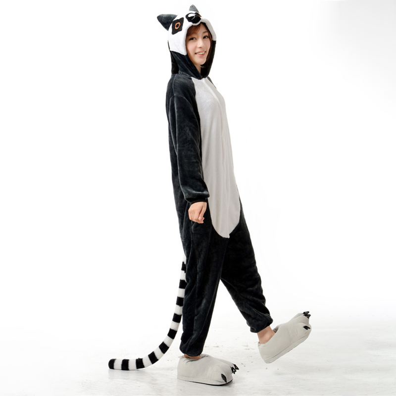 Adorable Lemur Soft Flannel Onesie Animal Adult Women Women Warm Kigurumi Pajama Overall Halloween Party Jumpsuit  Sleep Costume (5)