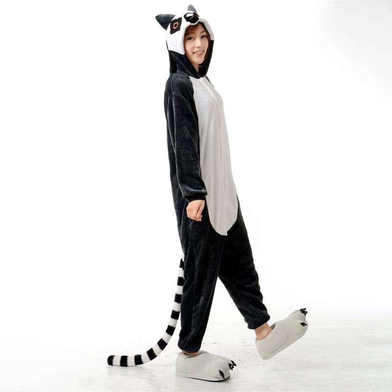 Adorable Lemur Soft Flannel Onesie Animal Adult Women Women Warm Kigurumi Pajama Overall Halloween Party Jumpsuit  Sleep Costume (5)