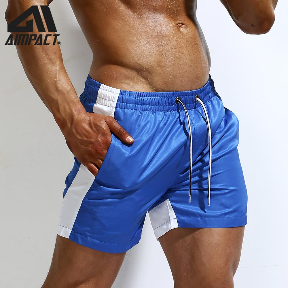 AIMPACT Men's Quick Dry Board Shorts Swimming Trunks Patchwork Liner Drawstring Holiday Sea Beach Play Sport Gym Running AM2186