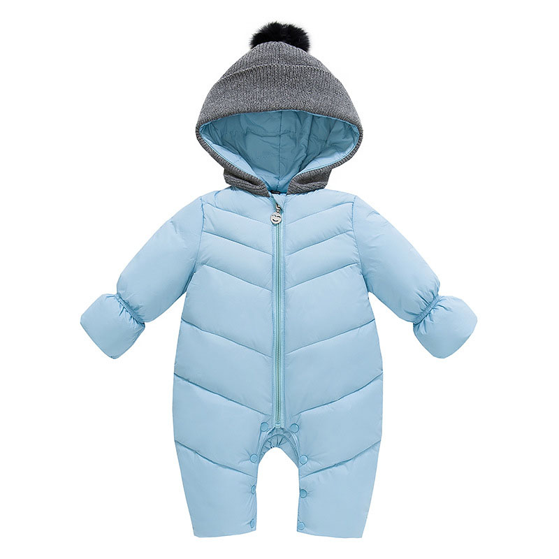 7bace1e7fd16 Baby Solid Rompers Winter Baby Boy Snowsuit Romper Toddler Cotton ...