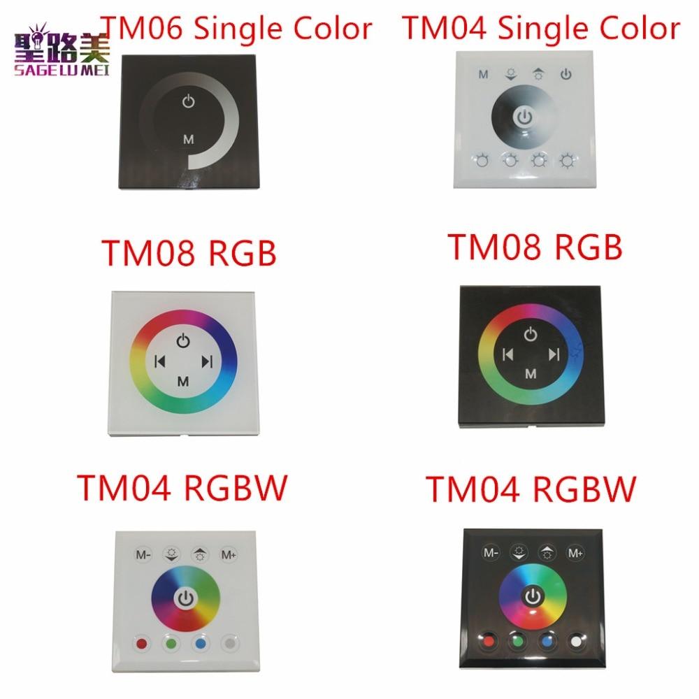 DC12V-24V RGB/RGBW יחיד צבע קיר רכוב בקר לוח מגע זכוכית פנל דימר מתג בקר עבור LED RGB רצועות מנורה