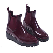 Mrs win New Wine Red Rain Boots Women Waterproof Ankle Boots Jelly Shoes Botas Feminina Elastic Band Rain Shoes