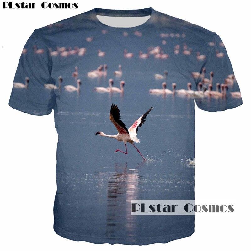 PLstar Cosmos 2018 Summer Women Men T-Shirts Flamingo Lucky Bird Print 3D T Shirt Brand Tee Tops Short Sleeve O-Neck tshirt 5XL