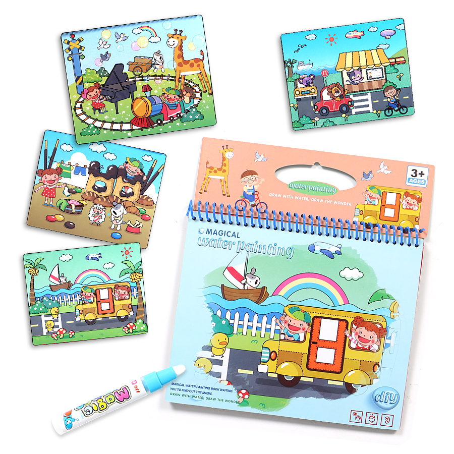 Us 7 38 40 Off Magic Water Drawing Book Zoo Animal Dinosaurs Coloring Book Doodle Magic Pen Painting Drawing Board For Kids Educational Toys In
