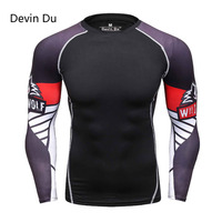 Mens Compression Shirts 3D wolf Jerseys Long Sleeve T Shirt Fitness Men Lycra MMA Crossfit T-Shirts Tights Brand Clothing