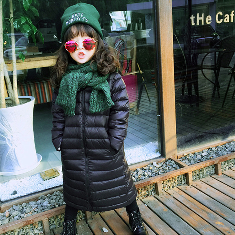 High quality 2017 Winter Children Black Clothes Filling duck down Kids X-long Down Jackets Girls Slim Coats Zipper Boys Hoodies casual 2016 winter jacket for boys warm jackets coats outerwears thick hooded down cotton jackets for children boy winter parkas