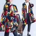Plus Size 4XL 5XL 2016 de Inverno Mulheres Outono Impressão Abstrato Senhoras trincheira Fêmea Grande Longa de Algodão Grosso Hoodies Outerwear Terno casaco