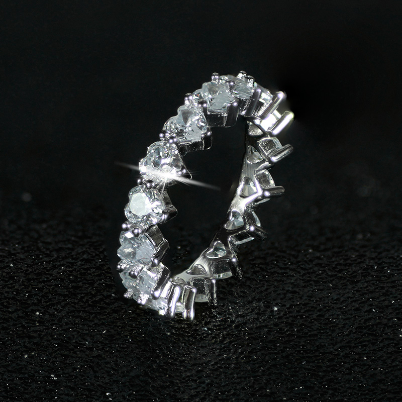 fashion heart zirconia 925 sterling silver Wedding band eternity ring for Women girl love gift jewelry sepcial unique LR4578S in Rings from Jewelry Accessories
