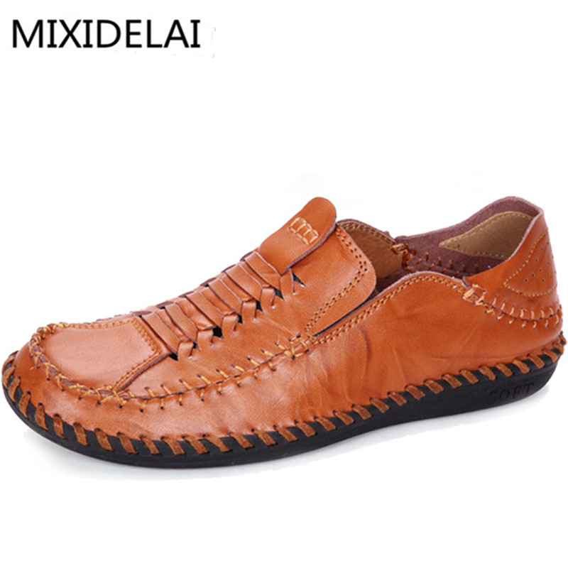 MIXIDELAI 2018 Summer Luxury Driving Breathable Genuine Leather Flats Loafers Men Shoes Casual Fashion Slip On Size 38-44 vesonal 2017 summer luxury genuine leather flats loafers men shoes casual fashion slip on driving breathable size 38 44 v9669