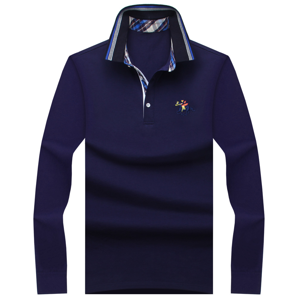 2018 뉴 클래식 남성 폴로 셔츠 긴 소매 봄 남성 셔츠 브랜드 Camisa 폴로 Masculina 플러스 크기 6XL 7XL 8XL 9XL 10XL