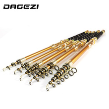DAGEZI super hard Sea Rod 2.1m/2.4M/2.7m/3.0m/3.6m telescopic fishing rod carbon pole Carbon Fiber Fishing Rod  pesca