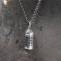S925 Pure Silver Prajna Boromido Heart Sutra Pendant Antique Thai Silver Gawu Box Pendant For Men and Women 17.5G