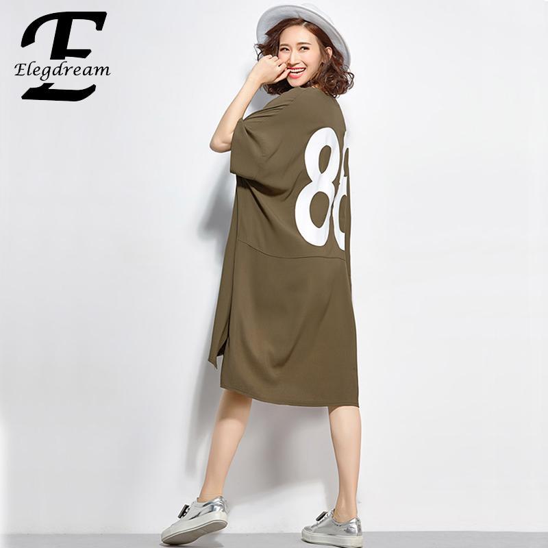 Vêtements La T Imprimer De Lettre Tunique Plus Lâche Taille Mode shirt Elegdream Noir Fille Occasionnel Dame Femmes army Coton Marque Top Green Vestidio XxECqvygw