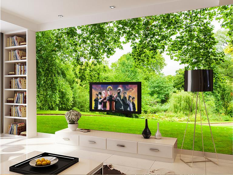 Customize luxury wallpaper green grass landscape 3d wall for 3d wallpaper home decoration