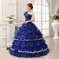ABULE blue red sttin princess wedding Dress flower ruffles lace up wedding Dress princess sleeves lace Bride wedding gowns 2018