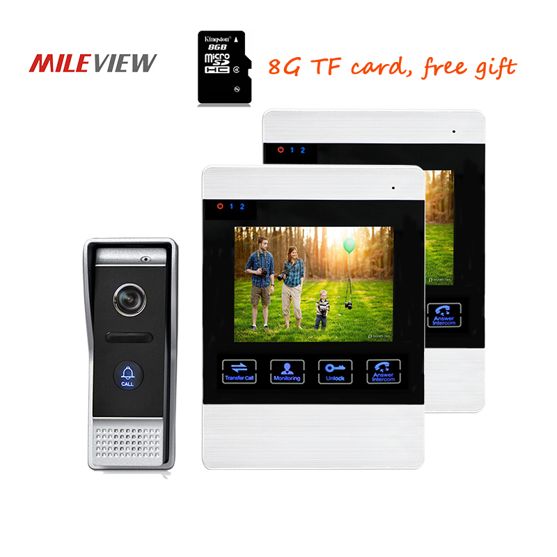 Free Shipping 800TVL HD 4.3 Video Intercom Door Phone Unlock Kit 2 Record Screens + Waterproof Door bell Camera 110 View Angle
