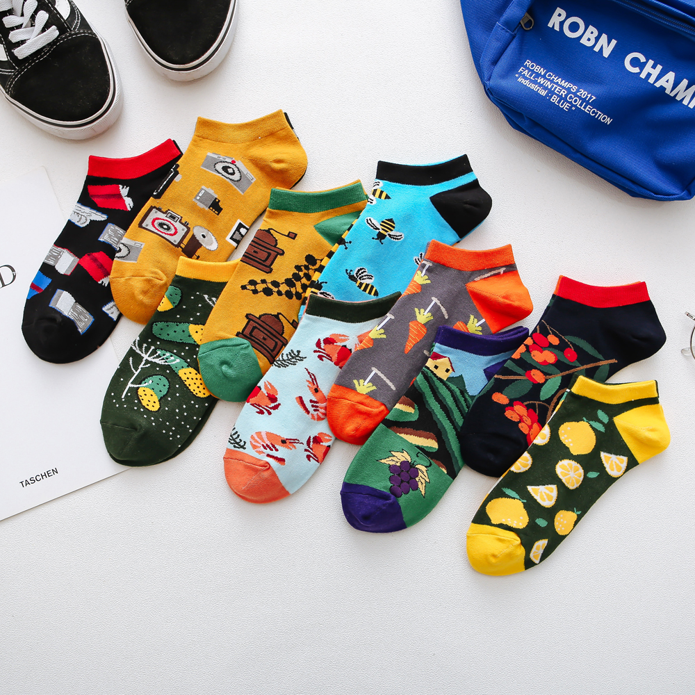 Jhouson 1 pair Colorful Women Men's Cotton Ankle   Socks   Invisible Low Cut Summer Casual Breathable Short Unisex Cool Funny   Socks